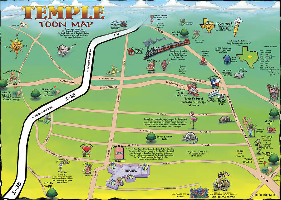 Temple Texas Cartoon Map Digital Art by Kevin Middleton