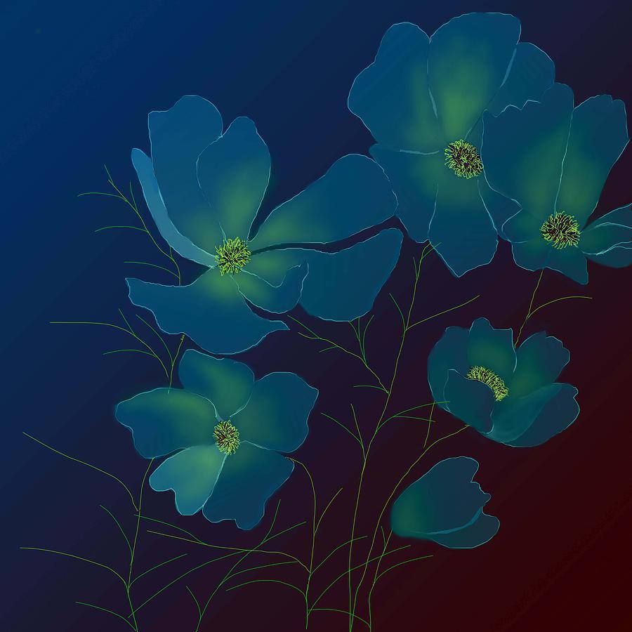 Cosmos Flowers Digital Art - Tender Cosmos by Latha Gokuldas Panicker