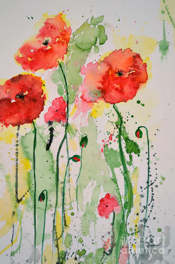 Tender Poppies - Flower Painting  - Tender Poppies - Flower Fine Art Print