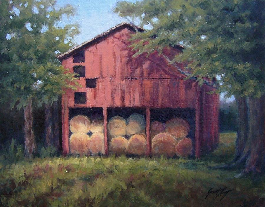 Barn Painting - Tennessee Barn With Hay Bales by Janet King