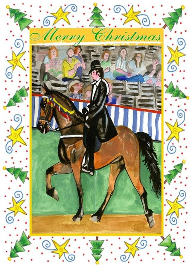 Tennessee Walking Horse Blank Christmas Card Drawing