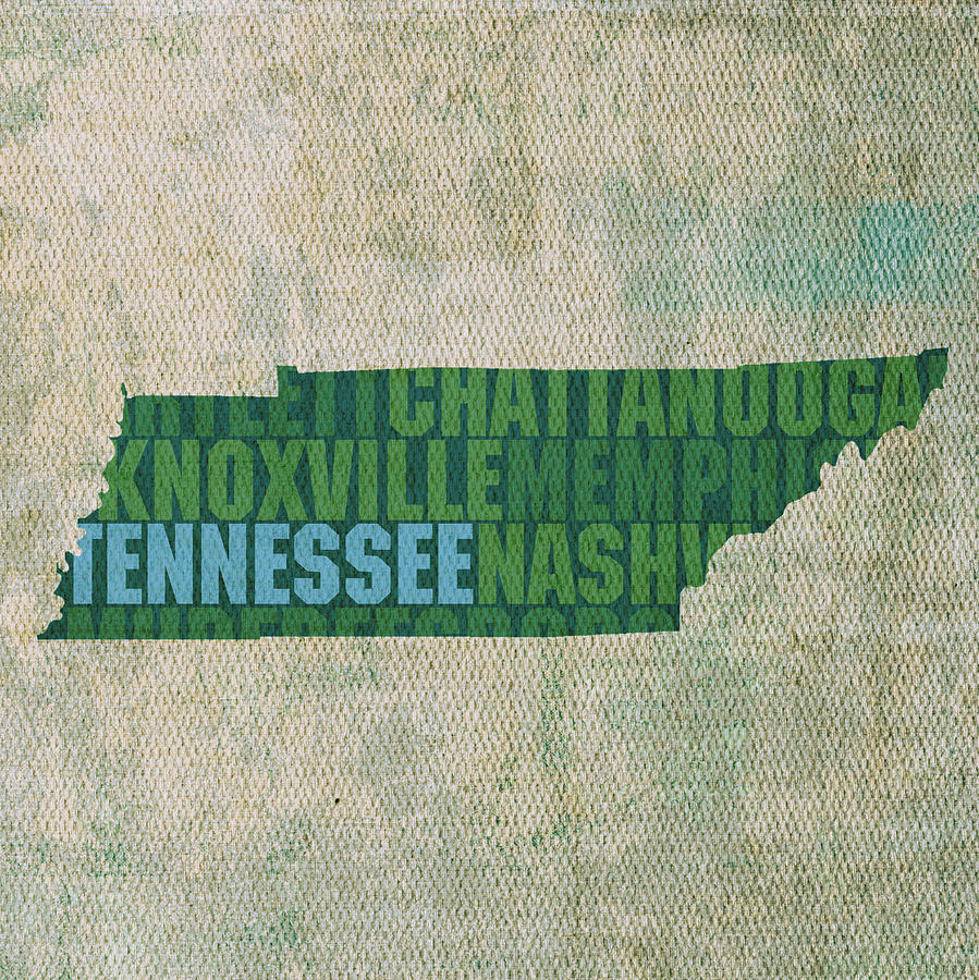 Tennessee Word Art State Map On Canvas Mixed Media