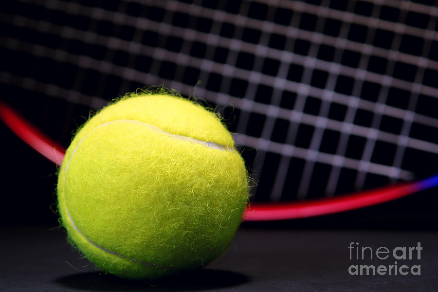 Tennis Ball And Racket Photograph