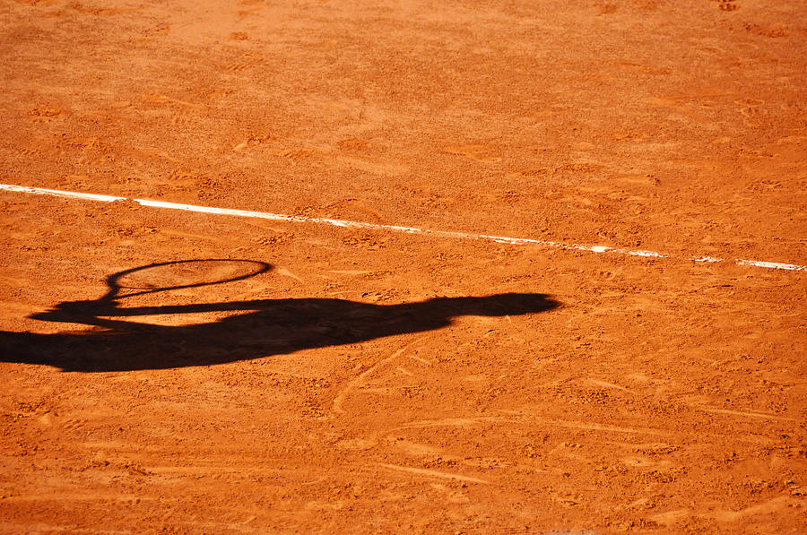 Tennis Player Shadow On A Clay Tennis Court Photograph  - Tennis Player Shadow On A Clay Tennis Court Fine Art Print
