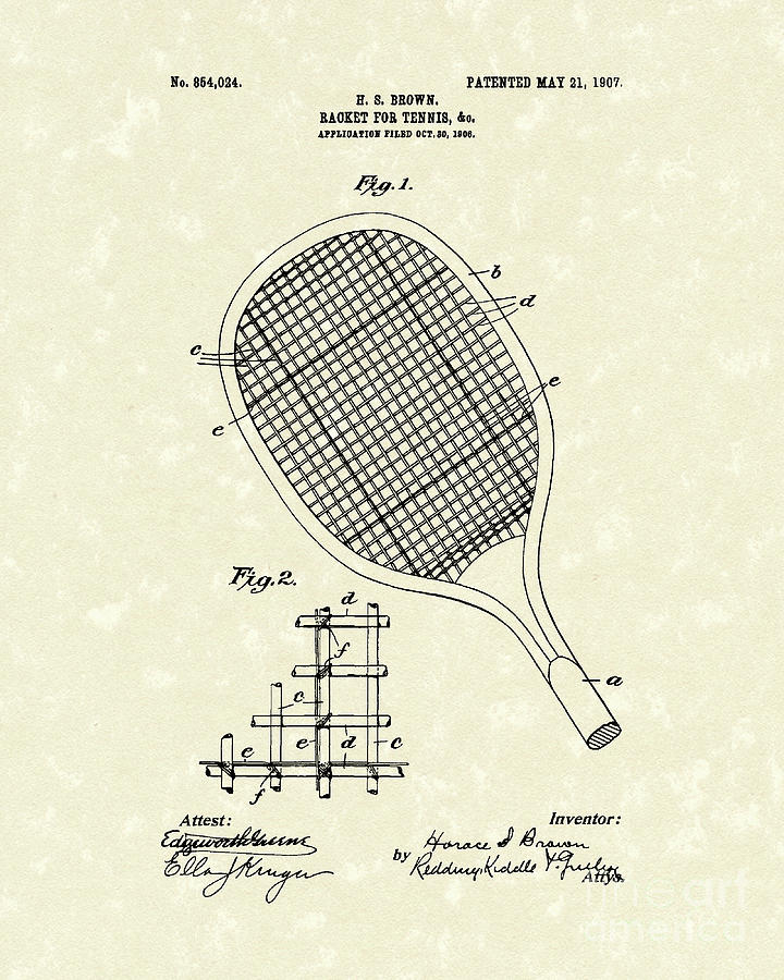 Tennis Racket 1907 Patent Art Drawing