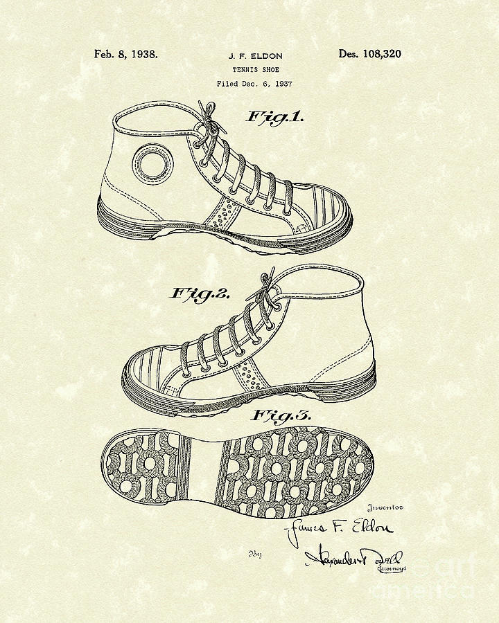 Tennis Shoe 1938 Patent Art Photograph