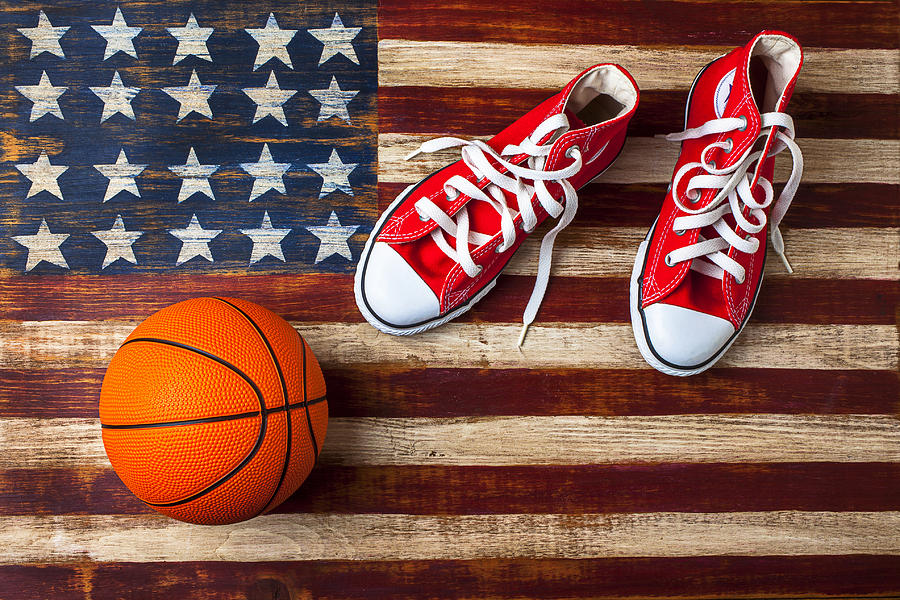 Tennis Shoes And Basketball On Flag Photograph  - Tennis Shoes And Basketball On Flag Fine Art Print