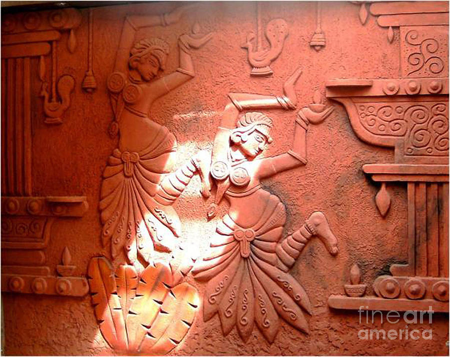 Wall Relief Murals Relief - Terracotta Dancers by Kreativebrahma Ravichand