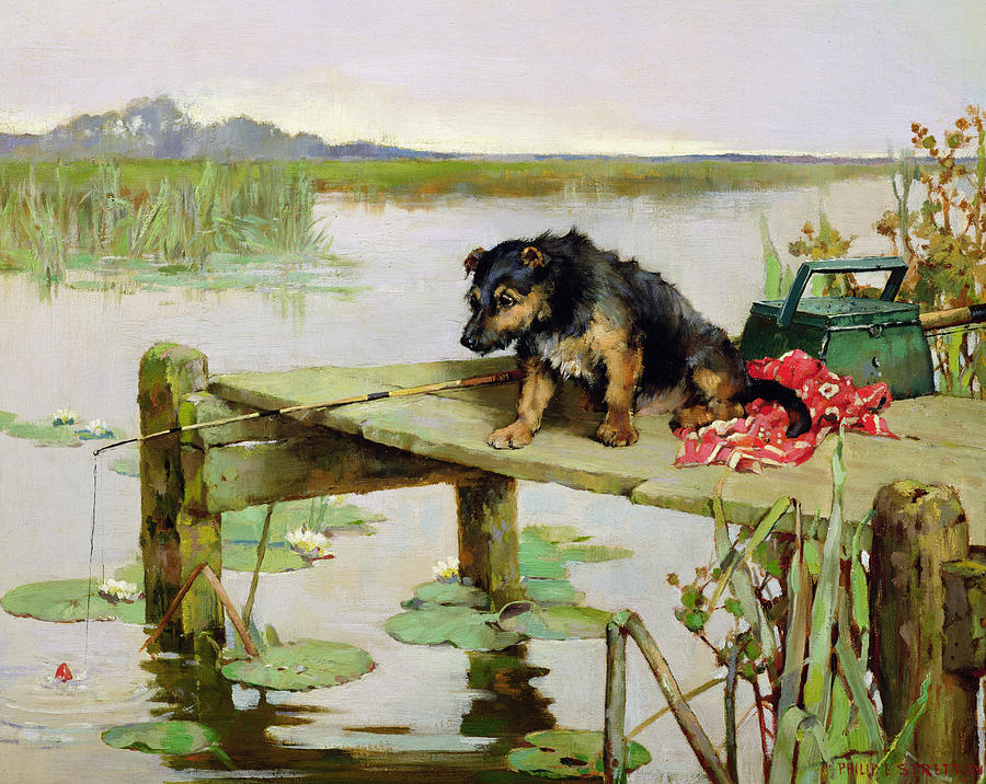 Terrier - Fishing Painting  - Terrier - Fishing Fine Art Print