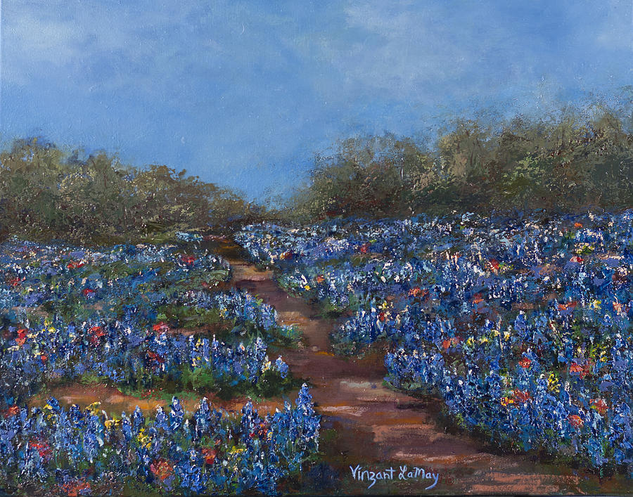 Texas Blue Bonnets Hill Country Trail Painting  - Texas Blue Bonnets Hill Country Trail Fine Art Print