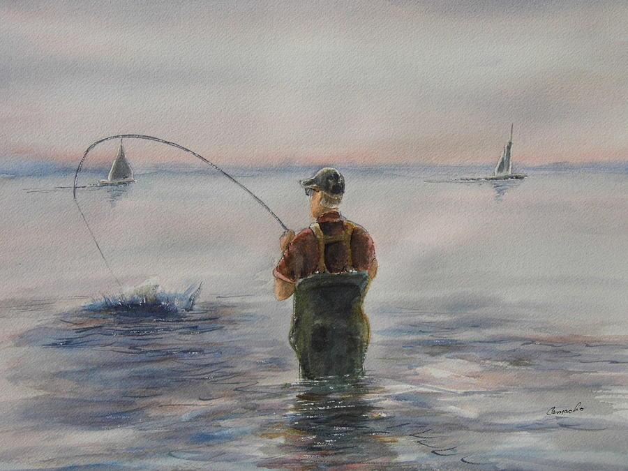 Texas coastal fishing painting by david camacho for Texas coast fishing