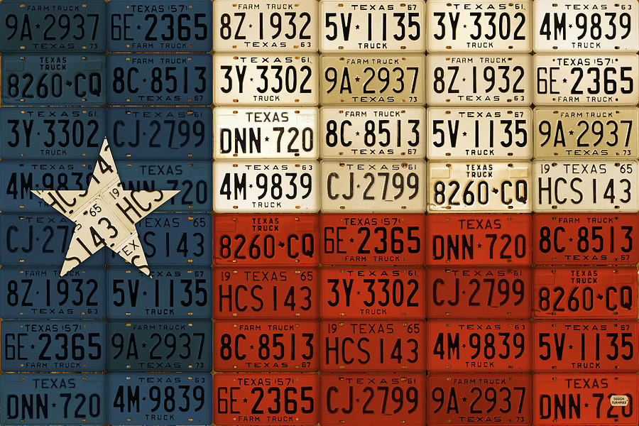 Texas Flag The Lone Star State License Plate Art Mixed Media