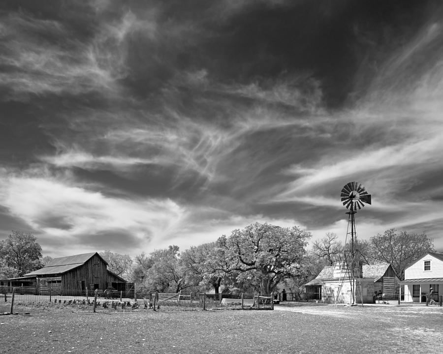 Texas Hill Country 19th Century Homestead With Windmill And Cist Photograph  - Texas Hill Country 19th Century Homestead With Windmill And Cist Fine Art Print