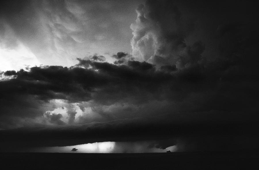 Texas Panhandle Supercell - Black And White Photograph  - Texas Panhandle Supercell - Black And White Fine Art Print