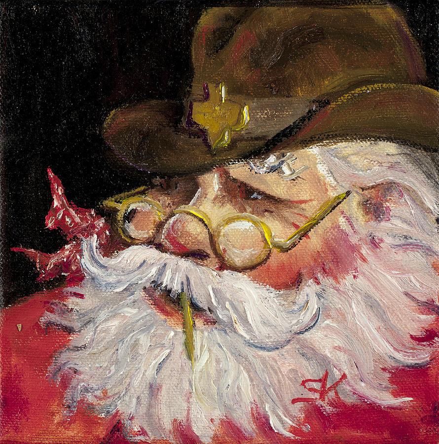 Texas Santa Painting - Texas Santa by Sheila Kinsey