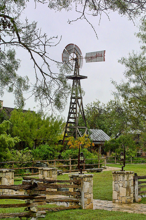 Texas Wooden Windmill Photograph