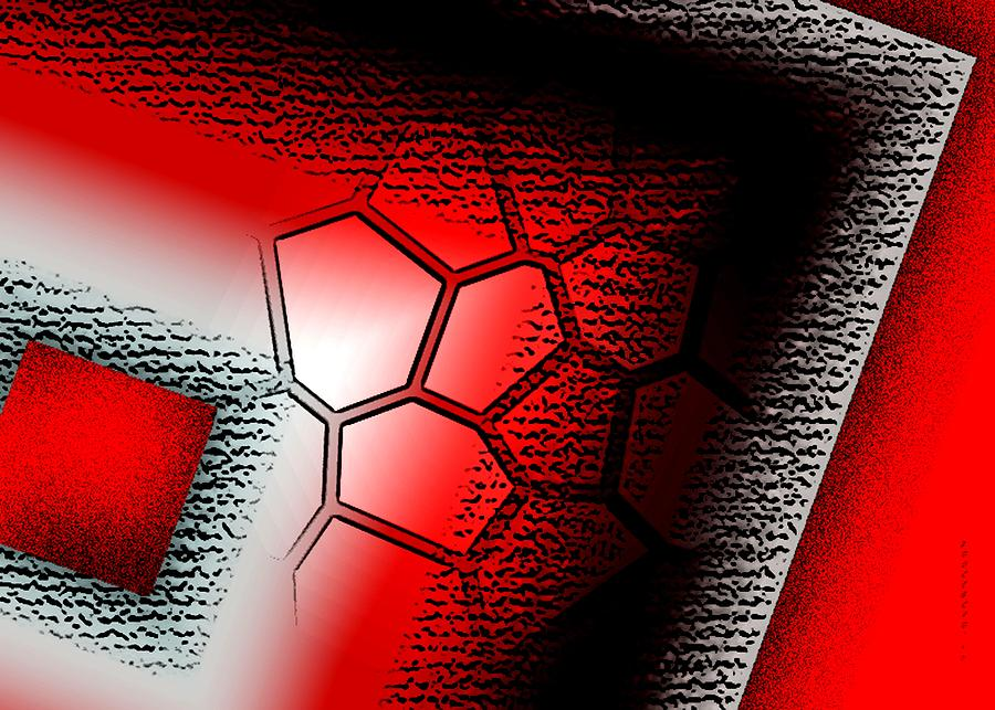 Texture In White Black And Red Design Digital Art  - Texture In White Black And Red Design Fine Art Print