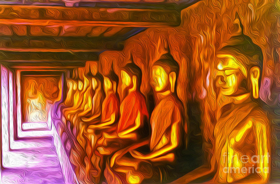 Thailand Buddhas Painting - Thailand Buddhas by Gregory Dyer