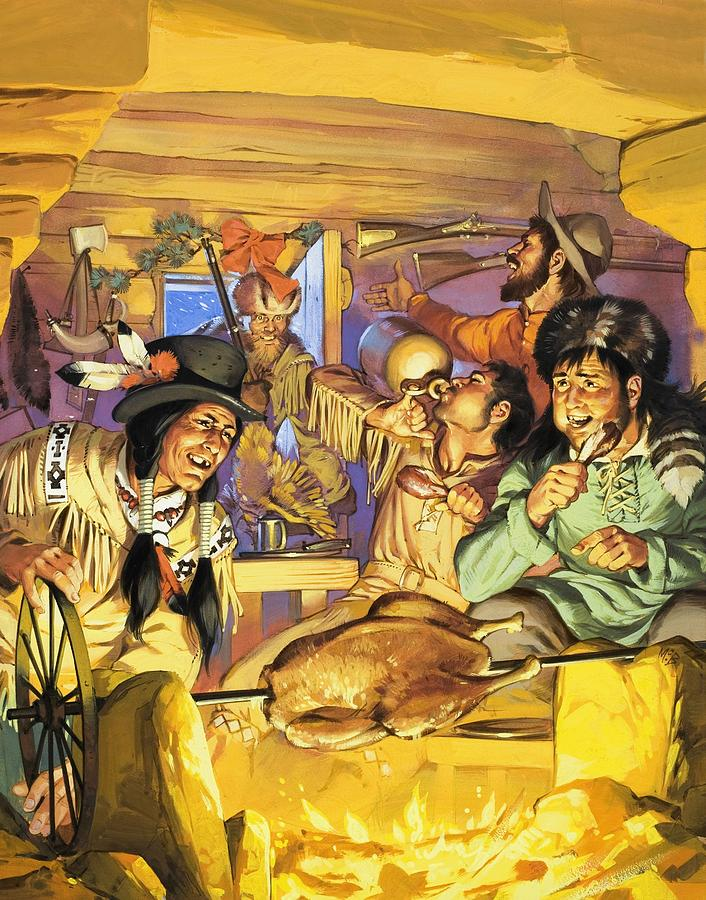Thanksgiving; Wild West; Usa; America; Cowboys; Indians; Native Americans; Cooking; Christmas; Cabin; Spit; Hunter; Guns; Powder Horn; Drink; Food Painting - Thanksgiving by Angus McBride