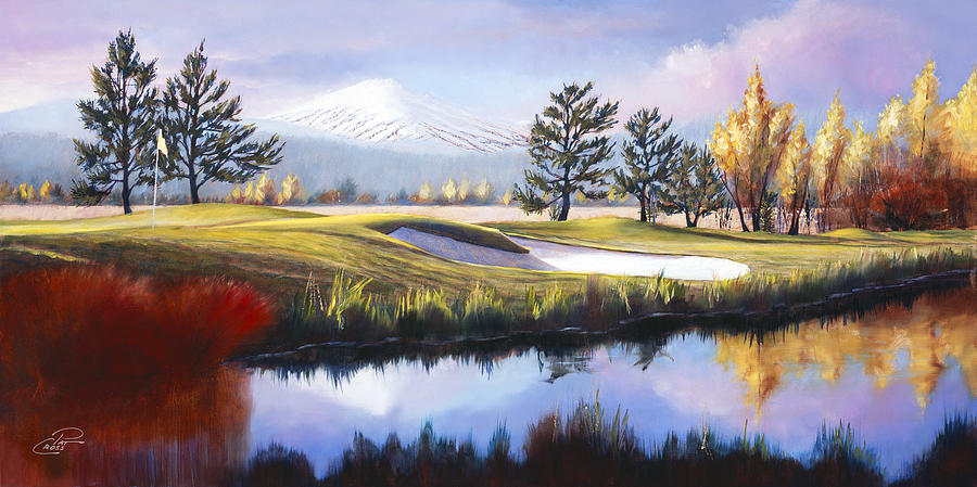 The 18th Hole Sunriver Meadows Golf Course Painting  - The 18th Hole Sunriver Meadows Golf Course Fine Art Print