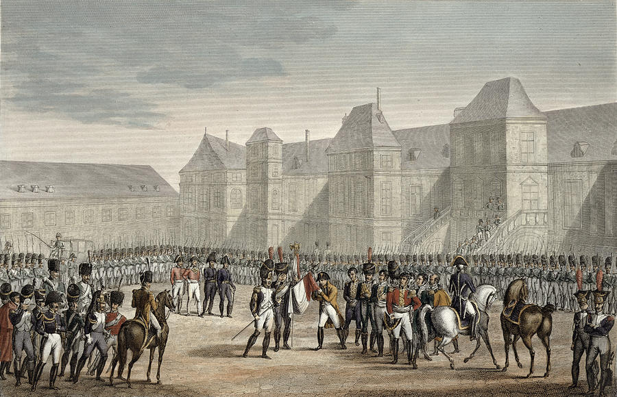 Exile Drawing - The Abdication Of Napoleon by Louis Francois Couche
