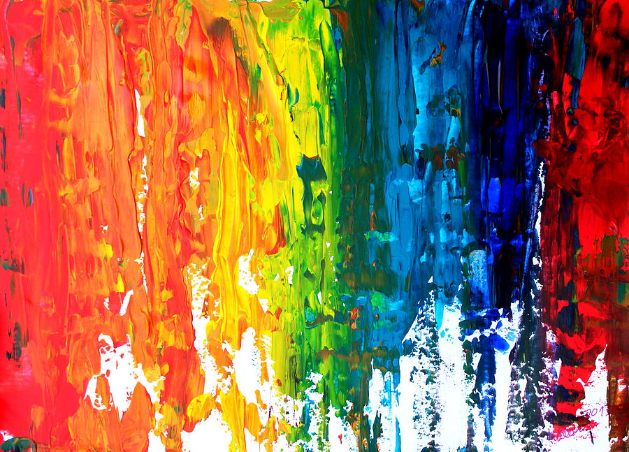 Abstract Art Painting - The Abstract Rainbow Beach Series I by M Bleichner