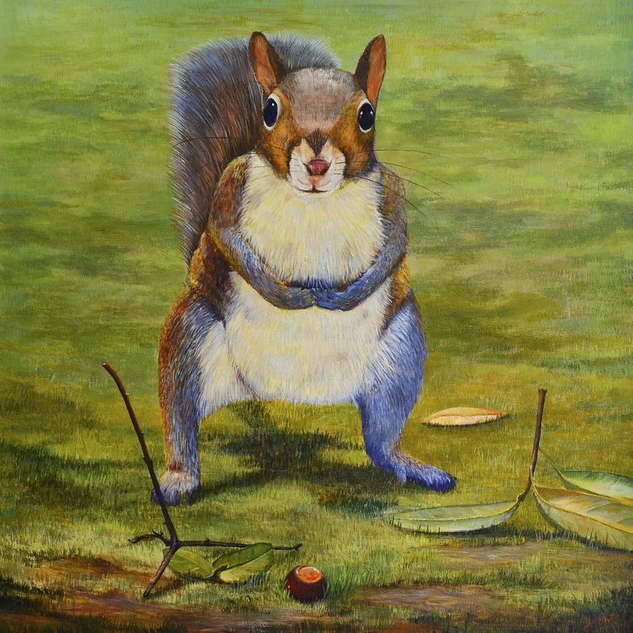 Eastern Gray Squirrel Painting - The Acorn by AnnaJo Vahle