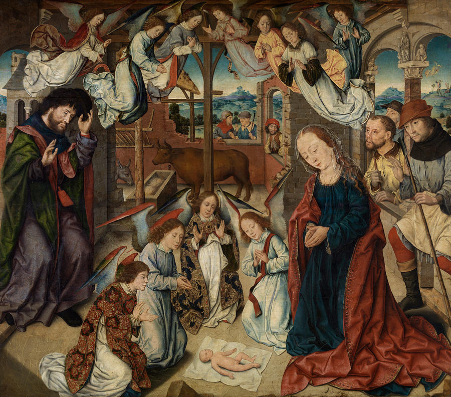 Adoration Painting - The Adoration Of The Shepherds by Albrecht Bouts