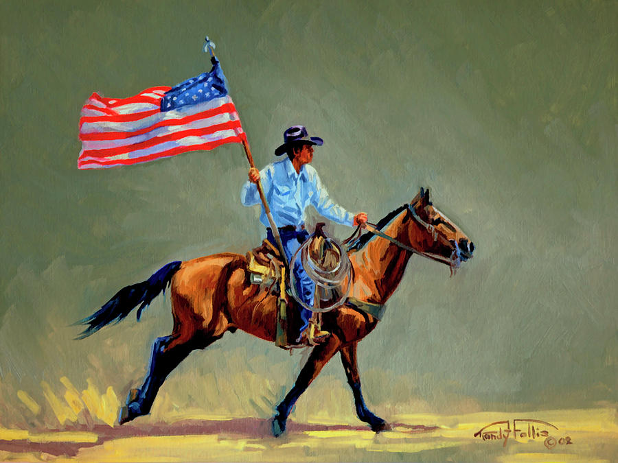 Flag Painting - The All American Cowboy by Randy Follis