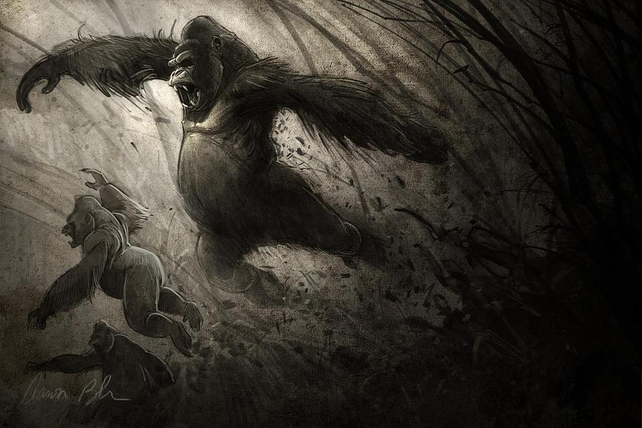 Gorilla Digital Art - The Ambush by Aaron Blaise