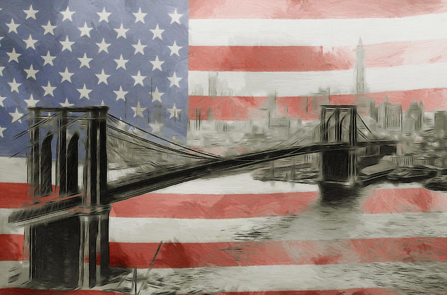 Dream American New York Flag Us National Big Apple Brooklyn Brigde Vintage Painting - The American Dream by Stefan Kuhn