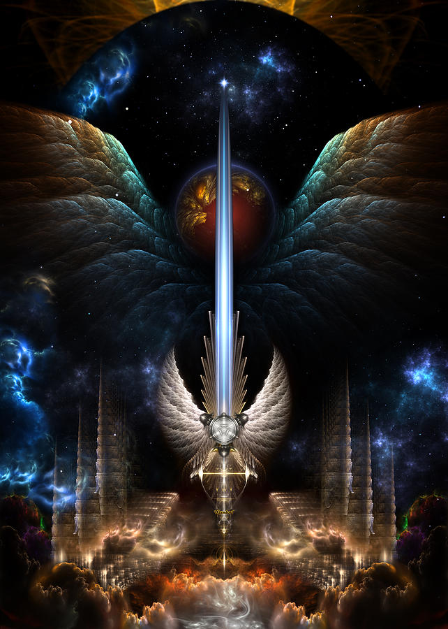The Angel Wing Sword Of Arkledious Imperial Wings Digital Art  - The Angel Wing Sword Of Arkledious Imperial Wings Fine Art Print