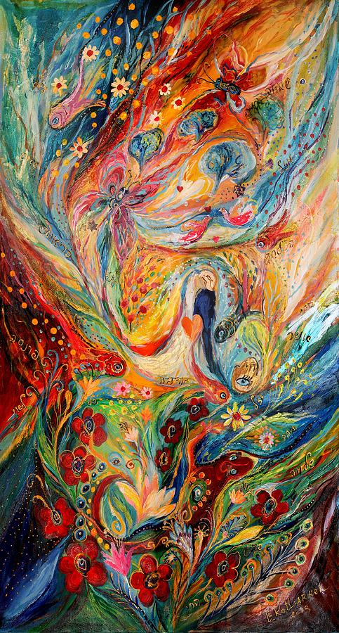 Original Painting - The Angels On Wedding Triptych - Center by Elena Kotliarker