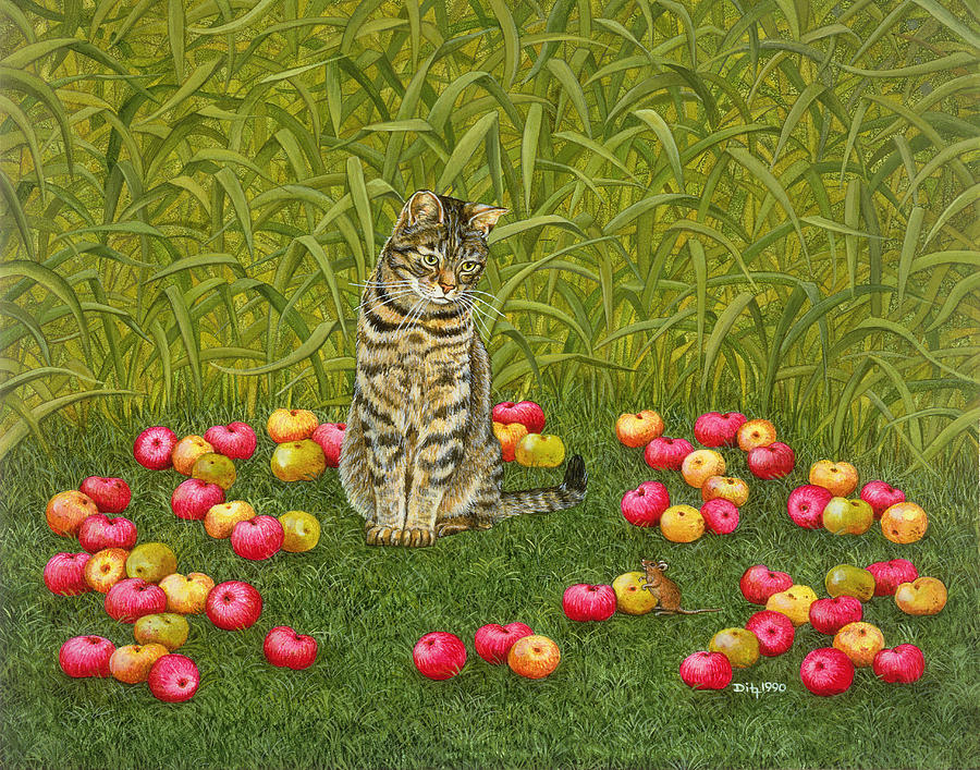Cat Painting - The Apple Mouse by Ditz