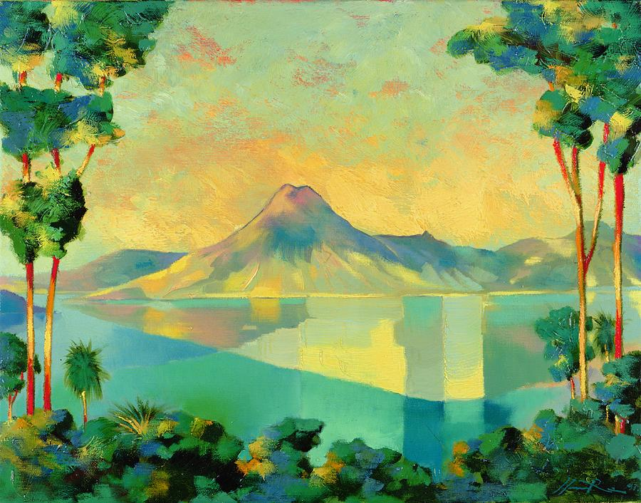 Lake Atitlan Painting - The Art Of Long Distance Breathing by Andrew Hewkin