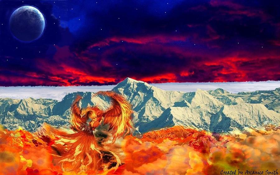 Phoenix Digital Art - The Awakening Of The Phoenix by Arcanico Luca Smith Acquaviva