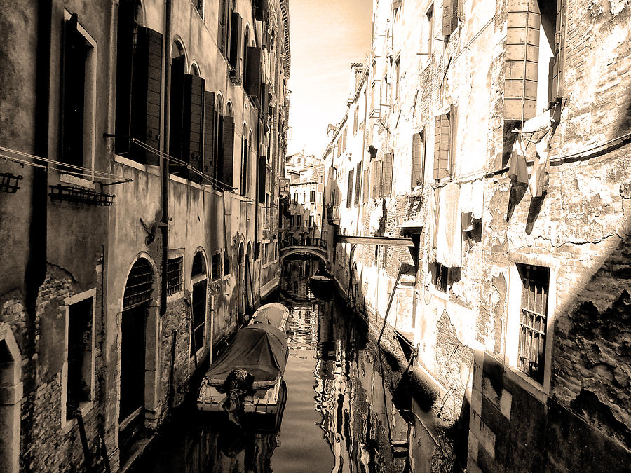 The Back Canals Of Venice Photograph