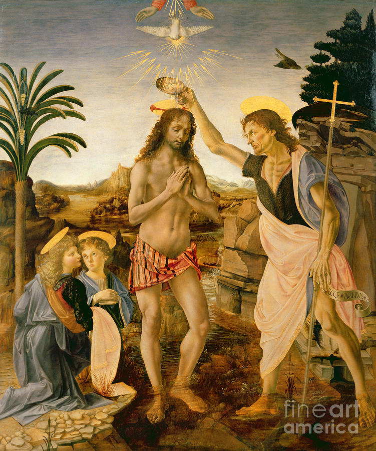 The Baptism Of Christ By John The Baptist Painting  - The Baptism Of Christ By John The Baptist Fine Art Print