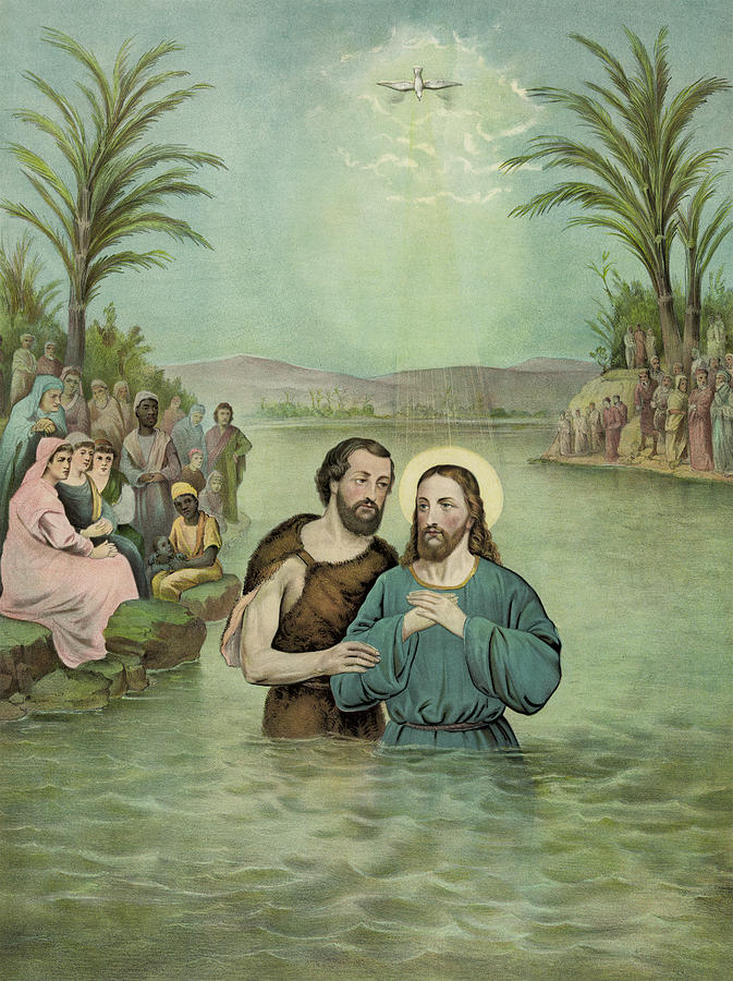 The Baptism Of Jesus Christ Circa 1893 Painting