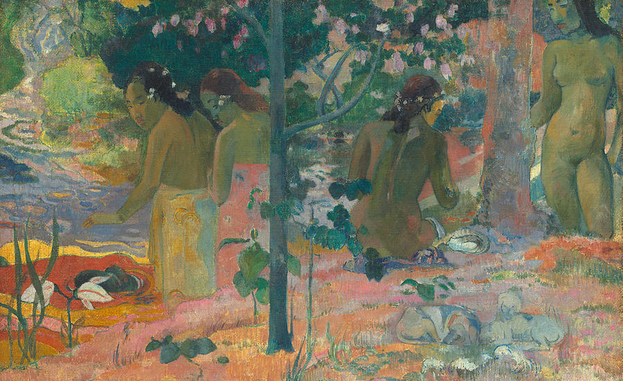 Post-impressionist; Tropical; Landscape; Nude; Female; Tahiti; Tahitian; Bathing; River Painting - The Bathers by Paul Gaugin
