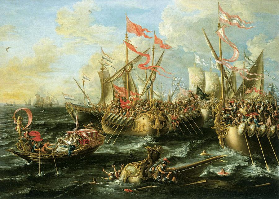 Lorenzo Castro Painting - The Battle Of Actium 2 September 31 Bc by Lorenzo Castro