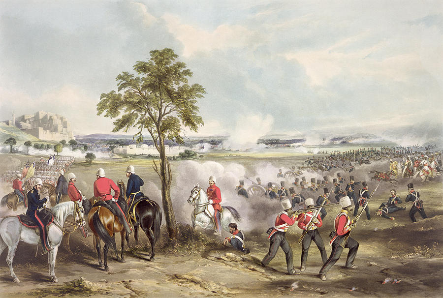 Print Drawing - The Battle Of Goojerat On 21st February by Henry Martens