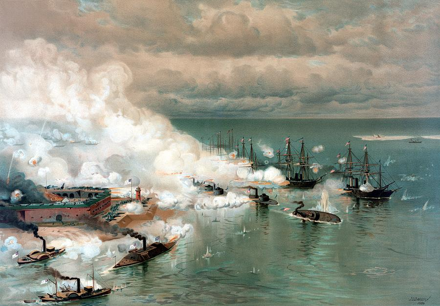 Civil War Painting - The Battle Of Mobile Bay by War Is Hell Store