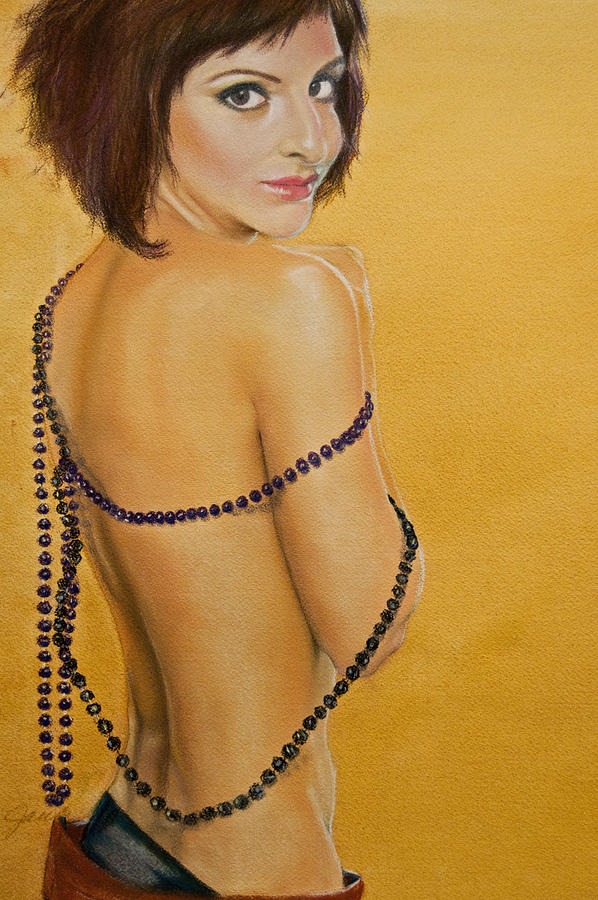 Portrait Painting - The Beaded Shawl by Jani Freimann