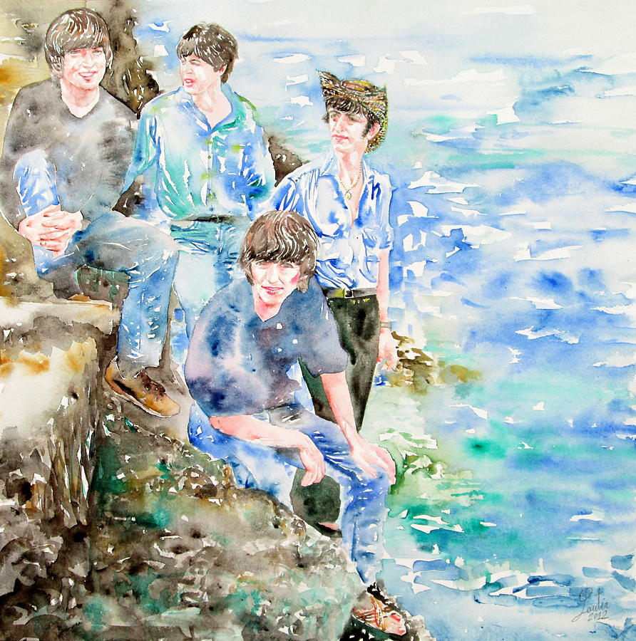 The Beatles At The Sea Watercolor Portrait Painting  - The Beatles At The Sea Watercolor Portrait Fine Art Print