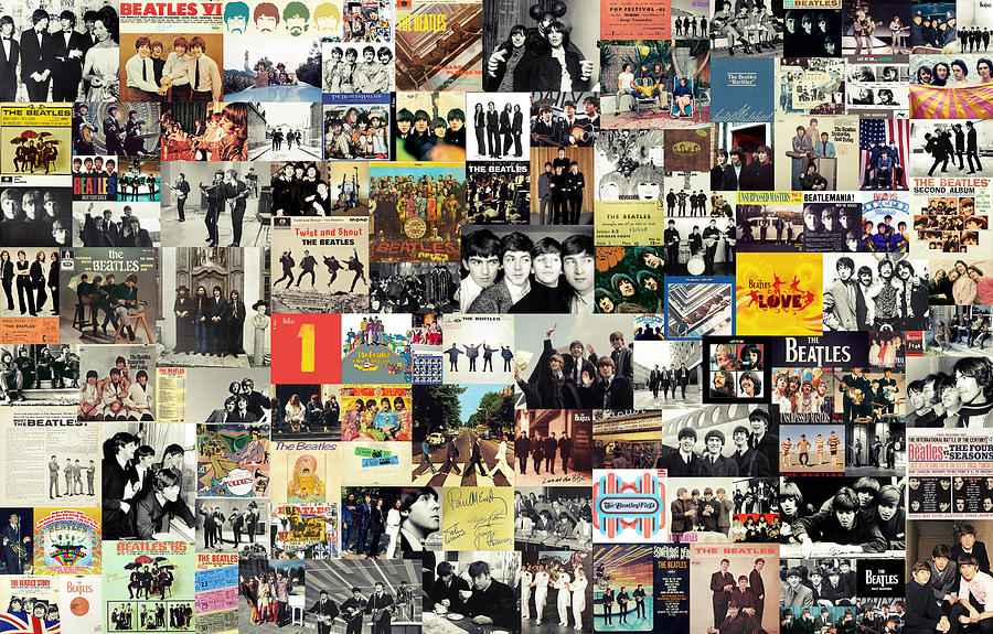 The Beatles Collage Mixed Media  - The Beatles Collage Fine Art Print