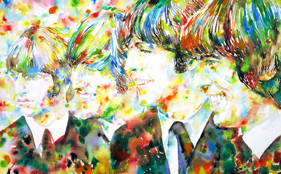 The Beatles Watercolor Portrait Painting  - The Beatles Watercolor Portrait Fine Art Print