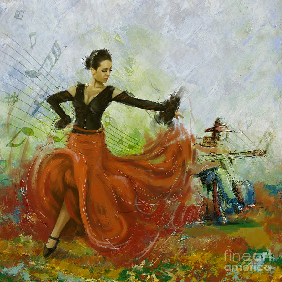 The Beauty Of Music And Dance Painting  - The Beauty Of Music And Dance Fine Art Print