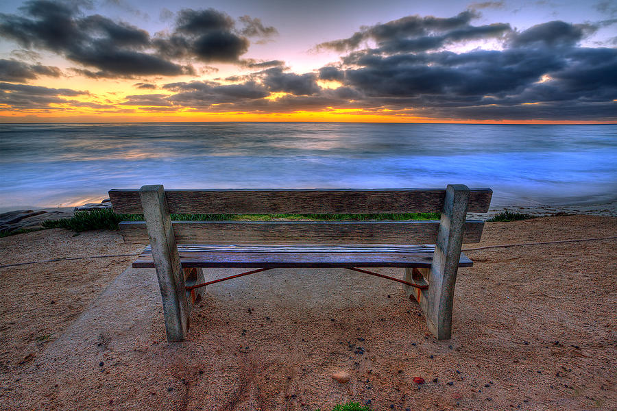Beach Art Photograph - The Bench II by Peter Tellone