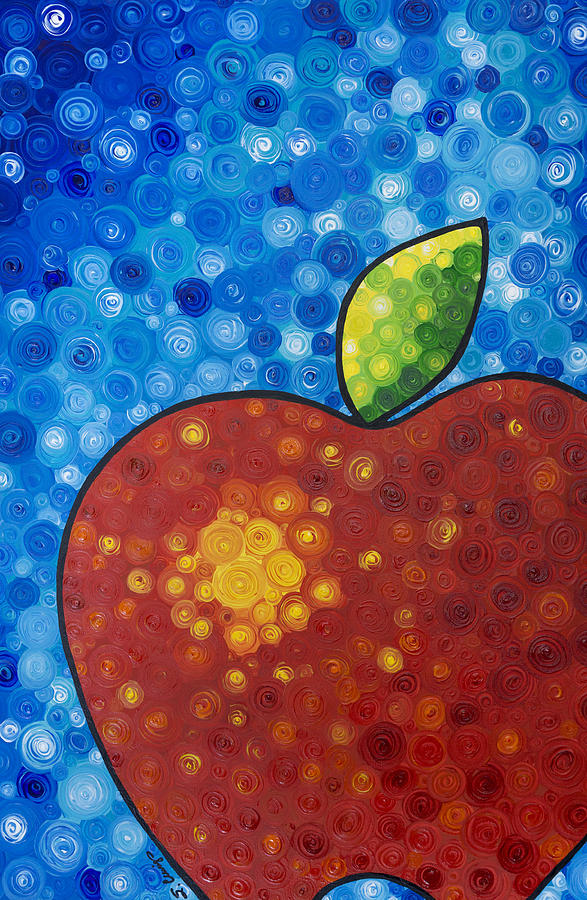 The Big Apple - Red Apple By Sharon Cummings Painting  - The Big Apple - Red Apple By Sharon Cummings Fine Art Print